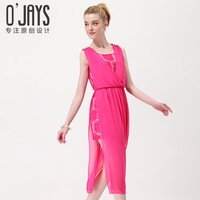 Ojays 2013 summer women's sweet elegant full dress expansion skirt lace chiffon one-piece dress