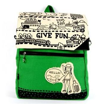 [ANYTIME] Original Flower Princess Brand - backpack green backpack princess bag black canvas bag school bag travel bag