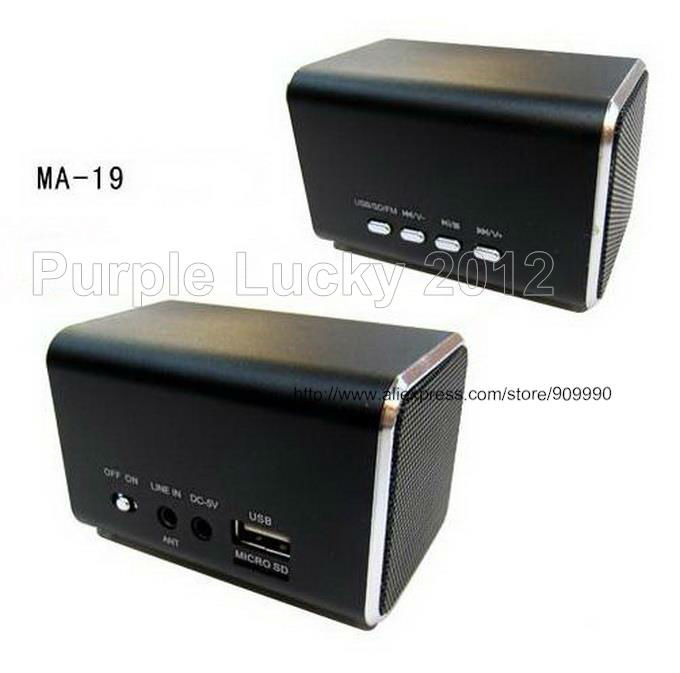 20PCS High Quality Mini Speaker MP3 Speaker Music Angel MA-19 USB Port Support Micro SD Card FM(China (Mainland))