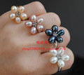 FREE SHIPPING Wholesale Real Genuine Freshwater Pearl Ring FREE SIZE ADJUSTABLE Beautiful Exquisite Jewellery