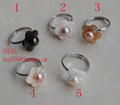 FREE SHIPPING Wholesale Real Genuine Freshwater Pearl Ring FREE SIZE ADJUSTABLE Beautiful Flower Jewelry