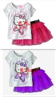 [E-Best]6sets/lot Baby Girl Cartoon KITTY skirt set Lace t-shirt+short skirt 2pcs set Children Summer cute wear