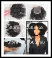 2013 Hot sale! high grade afro kinky curl natural black 1b malaysian virgin hair lace closure 4*4 bleach knots for woman
