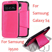 Flip Leather Case For Samsung Galaxy S4 i9500 with window open,10pcs/lot,free shipping