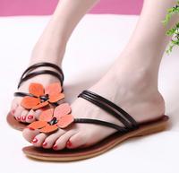 New 2014 Women flats summer sweet  color flower sandals T-Strap flat casual shoes Flip Flops Cross-Strap wholesale plus size