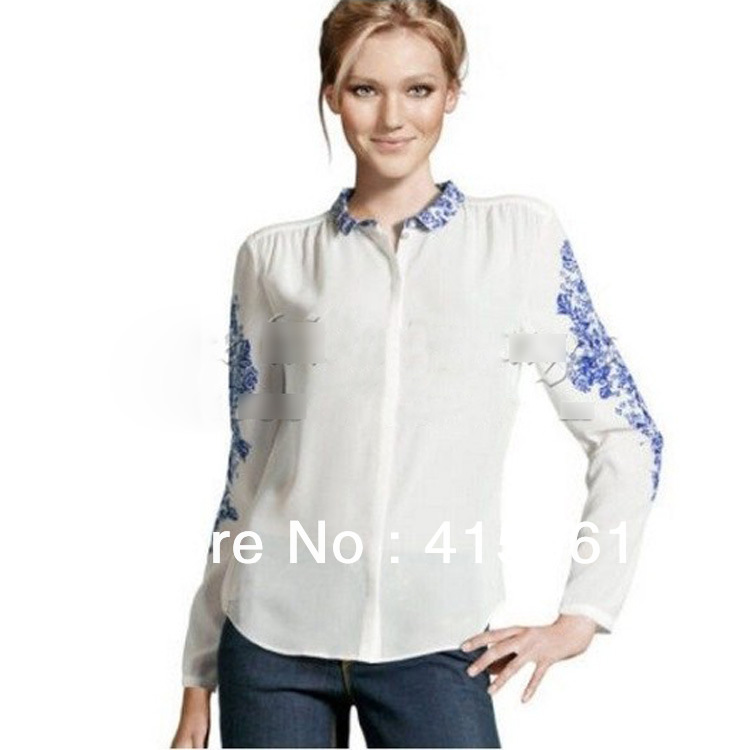 Celeb Blue And White Porcelain Print Chiffon Shirt Top Blouse S/M/L,1252(China (Mainland))