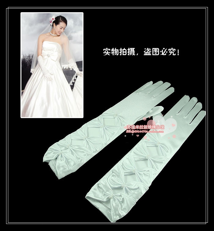 Free shipping The bride long design gloves winter gloves married finger gloves white pearl bow gloves satin 0029(China (Mainland))