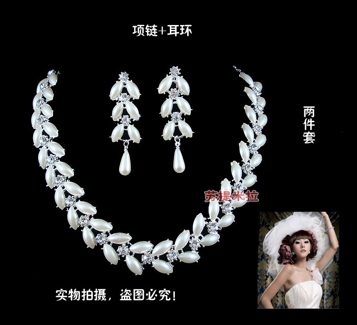 Free shipping The bride accessories set married necklace pearl bridal accessories marriage accessories wedding accessories 0782(China (Mainland))