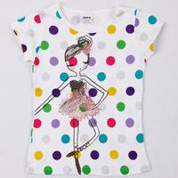 Free shipping 5pcs/lot gilr NWT summer colorful polka dots t shirt with fashion girl printing