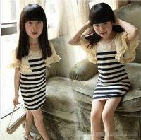 2013 free Child stripe ruffle hem flare sleeve one-piece   dress