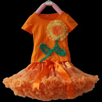Wholesale children's clothing,Baby clothing,girl's tutu skirt,,beautiful sunflower shirt+orange Pettiskirt set ,5sets/lot