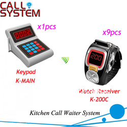 Low Price Electronic Call System for Kitchen with 1pcs transmitter keypad and 9pcs wrist watch DHL Shipping Free(China (Mainland))