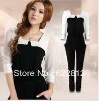 2013 Autumn New Fashion Womens Chiffon Patchwork jumpsuit Free Shipping