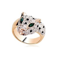 Free shipping fashion women rings/American-European style zircon crystal leopard shape ring set