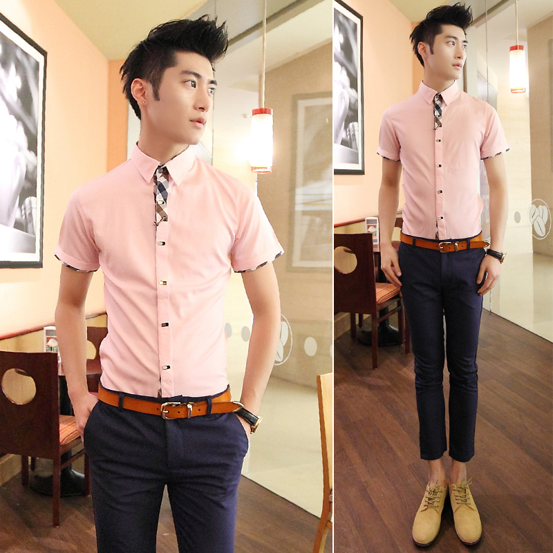designer clothes for men solid color short-sleeve shirt slim short sleeve mens shirt dress male(China (Mainland))