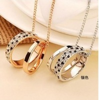 X13  elegant black and white leopard print double-circle  necklace pendants free shipping (min order $10 mixed order)