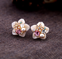 Accessories natural shell crystal girls stud earring boxed