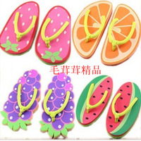 Korean version of sweet summer flip-flops, ladies slippers, cartoon herringbone drag fruit drag Free Shipping