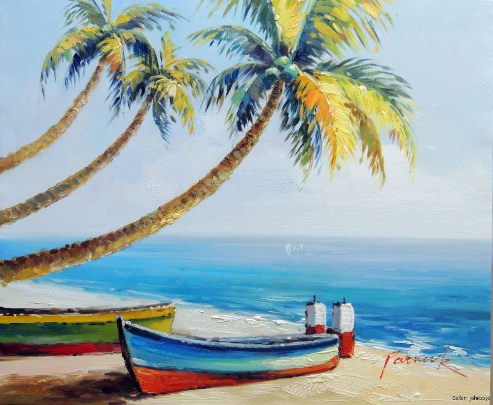 Caribbean Beach Boat White Coral Sand Palm Tree Resort 20X24 Oil Painting(China (Mainland))
