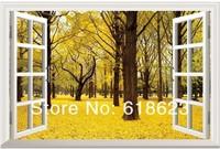 Landscape HD Pattern  fake windows sticker 120*80cm sofa background  pvc   art mural home decor Removable wall sticker  fj-22
