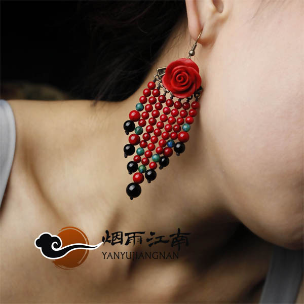 Earrings festive tassel gift girlfriend gifts wedding gift red rose female(China (Mainland))