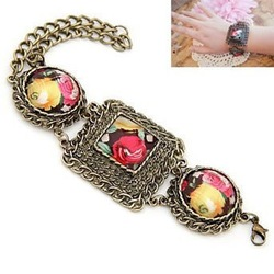Free Shipping! Min. Order is 10USD(Can Mixed Order) Fashion vintage antique oil painting carved bracelet(China (Mainland))