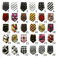 LOT 50 FASHION NECKTIE POLYESTER KIDS NECK TIE CHILDREN PRINTING TIE 30+ CHOOSE