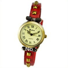 Wholesale 2012 Hot Sale Genuine Cow Leather Punk Two Rows Rivets Roma Watch for Ladies,Multi Color.TOP Quality,Free Shipping(China (Mainland))