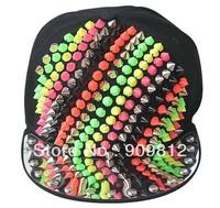 Free Shipping 2013 Punk Style, Colorful rivets hip-hop cap, Fashion personality flat brimmed hat, Snapback caps 10pcs/lot