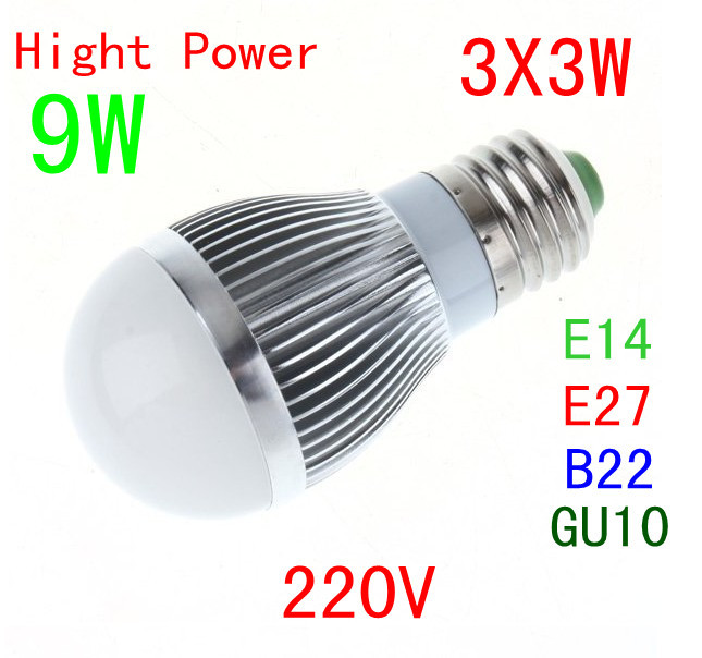 NEW Arrival!Free shipping!4pcs/lot 3*3W Led bulb 9W globe lamp white and warm white E27/E14 save energy 2 year Warranty(China (Mainland))