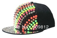 Free Shipping 2013 Punk Style, Colorful rivets hip-hop cap, Fashion personality flat brimmed hat, Snapback caps