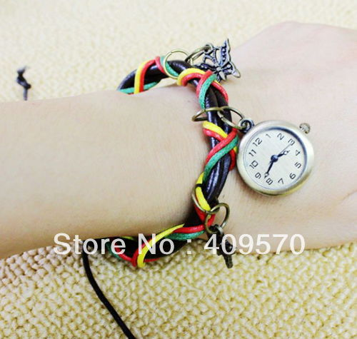 strap braclet vintage fashion women's brief leather watch,fee shipping wholesales good price high quality watches for lady(China (Mainland))