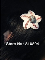 2013 cheap  fast Free shipping  leather baseball crystall alloy charm  red stitching seam flowers with cerimac hair accessiores
