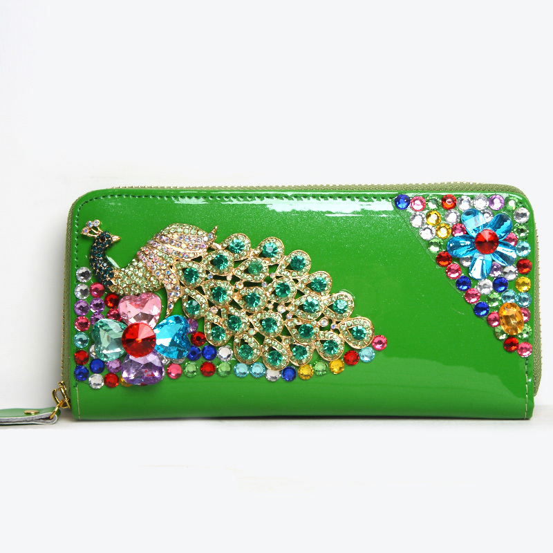 Women's leather-bags handbags 2013 new clutch clutch bag female patent leather leather diamond peacock wallet banquet(China (Mainland))