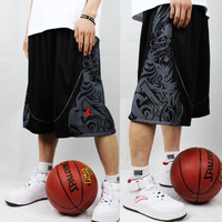 Basketball shorts street pants summer over-the-knee hiphop male plus size male sports shorts black