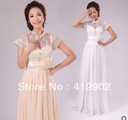 2013 New Fashion Lace Stand Collar Chiffon Wedding Bridal Bridesmaid Long Full Length Dress White Purple Red Pink Champagne(China (Mainland))