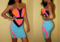 2014 NEW Women sexy off shoulder dresses neon color block geometry patchwork pattern slim tube top one-piece strapless dresses