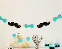 Free Shipping Most Creative &Popular Party Photograph Props Creative Party Decoration Bowknot & Black Mustache Combination