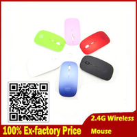 Promotion Wholesale 10pcs/lot Ultra Thin USB Wireless Computer Optical Mouse2.4Ghz Receiver for Laptop PC Desktop DPI adjustable