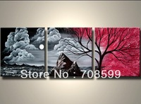 The night cloud tree  free shipping   Home decoration wall art 100% Hand painted  Landscape  Painting