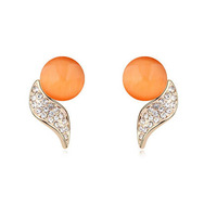 Genuine Gold Plated Love Streamer Flying Opal Stud Earrings( White Blue Orange  Pink)