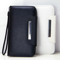 10pcs Galaxy S4 i9500 wallet leather case for Samsung i9500 flip leather case cover top quality, free shipping