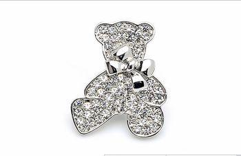 Cute Austrian crystal rhinestones gold / silver tone Teddy Bear girls kids children brooch costume jewelry wholesale gift DLXC04