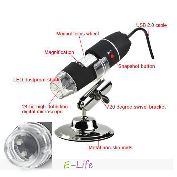 500X 2MP 8 LED USB Digital Microscope Endoscope Magnifier Camera shipping free(China (Mainland))