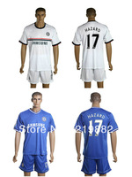 NEW #17 HAZARD 13-14 Chelsea home Blue Away White football uniforms Soccer Jerseys +shorts soccer jerseys size:S/M/L/XL