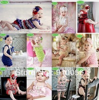 Wholesale sales 3 set Toddler  Baby Girl Lace Posh Petti Ruffle Rompers + Headband 80-90-100