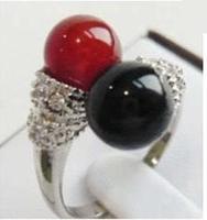 Beautiful Black red Jade Silver Woman's Ring / Free Shiping