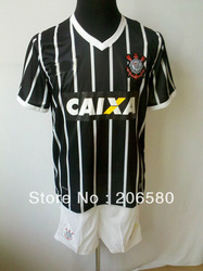 Free shipping,13/14 season top quality SC Corinthians away black soccer jersey(China (Mainland))
