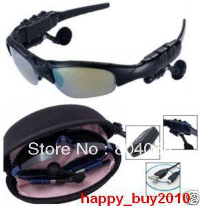 Free Shipping Wholesale 100% New 4GB Headset Sunglasses+FM Radio+Bluetooth+Mp3 Player!