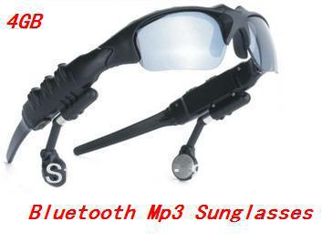 Wholesale 100% New 4GB Headset Sunglasses+Bluetooth+Mp3 Player!!Free shipping!(China (Mainland))